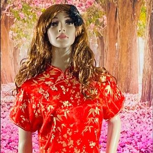 Dresses - Red And Gold Floral Maxi Qipao Dress